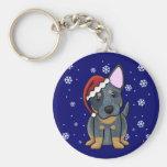 Christmas Kawaii Blue Heeler Basic Round Button Key Ring