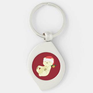 Christmas Kermode Bear - Santa Hat & Jingle Bell Silver-Colored Swirl Key Ring
