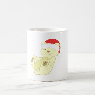 Christmas Kermode Bear with Red Santa Hat Basic White Mug