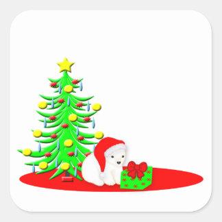 Christmas Kids Baby Polar Bear in Santa Hat Square Sticker