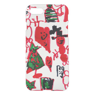 Christmas Kids Drawing Snowmen and Hearts iPhone 7 Case