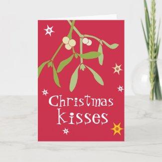 Christmas kisses mistletoe card red card