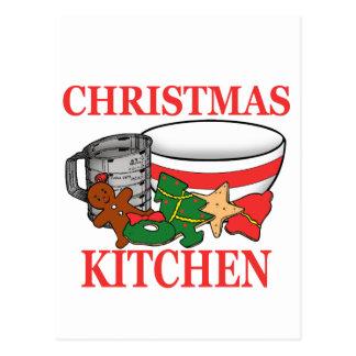 christmas kitchen postcard