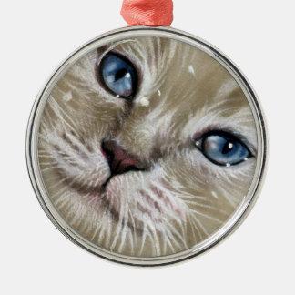 Christmas Kitten Cat Face Ornament