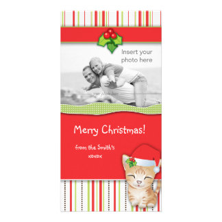 Christmas Kitten Cat Stripes Photo Card