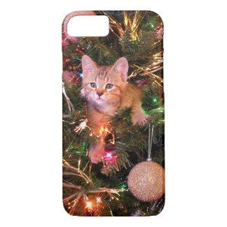 Christmas kitten in tree. Pixie Bob kitten Skylar. iPhone 8/7 Case