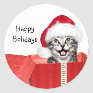 Christmas kitten round sticker