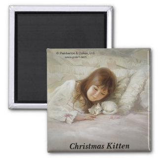 Christmas Kitten Square Magnet