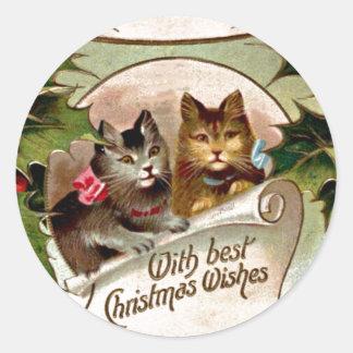 Christmas Kittens - Vintage Christmas Design Round Sticker
