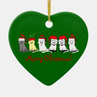 Christmas Kitties In A Row Ceramic Ornament