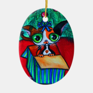 Christmas Kitty Cat In Gift Ornament