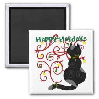 Christmas kitty, Happy Holidays magnet
