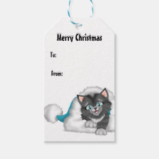 Christmas Kitty with Blue Hat Gift Tags