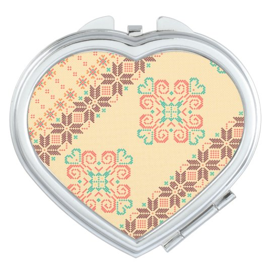 Christmas knitted pattern compact mirror