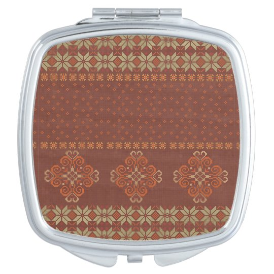 Christmas knitted pattern compact mirrors