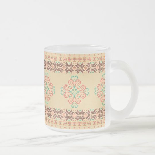Christmas knitted pattern frosted glass coffee mug