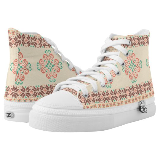 Christmas knitted pattern high tops