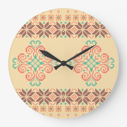 Christmas knitted pattern large clock