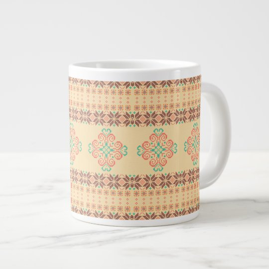 Christmas knitted pattern large coffee mug