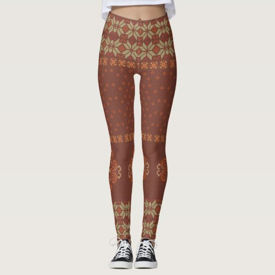 Christmas knitted pattern leggings