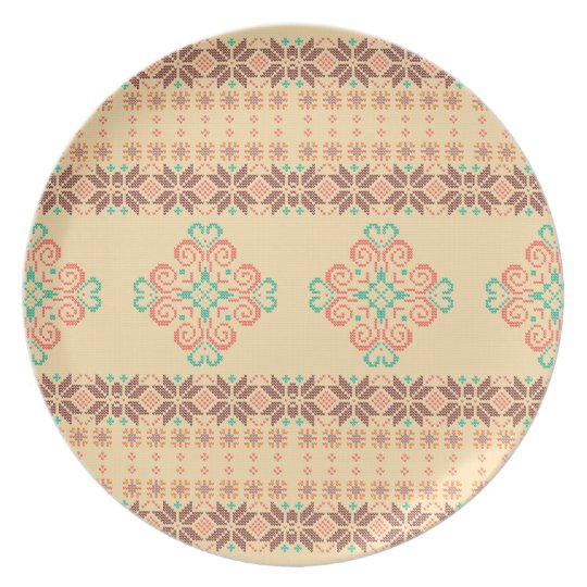Christmas knitted pattern plate
