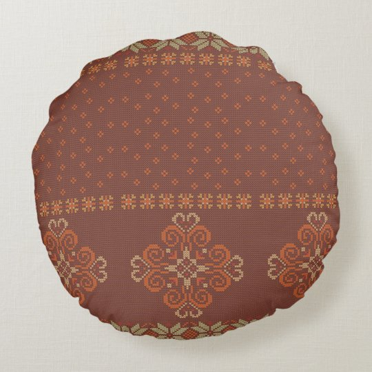 Christmas knitted pattern round cushion