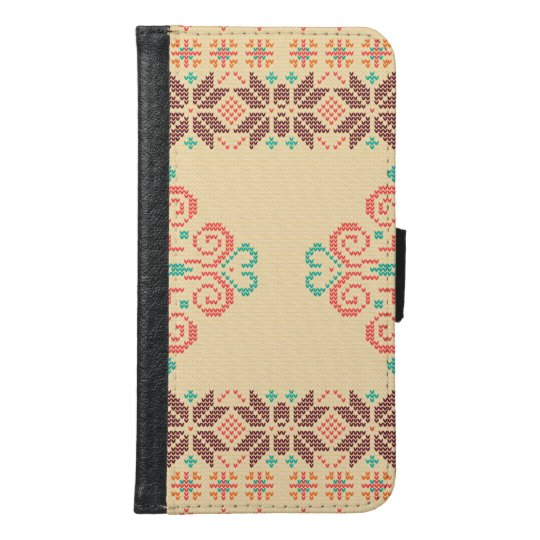 Christmas knitted pattern samsung galaxy s6 wallet case