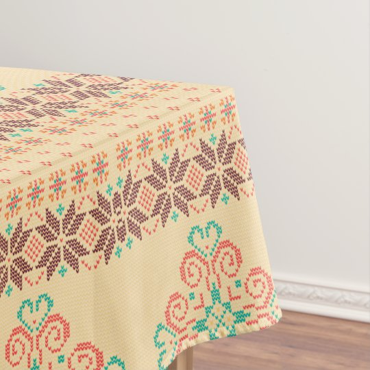 Christmas knitted pattern tablecloth