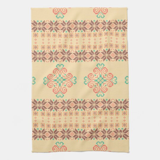 Christmas knitted pattern tea towel