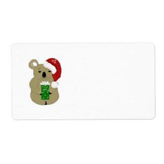 Christmas Koala Bear Shipping Label