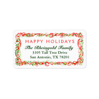 Christmas Label  Happy Holidays Red & Green Border
