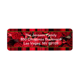 Christmas label red roses