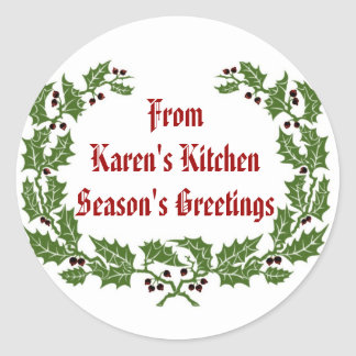 Christmas  Label  Season's Greetings baking, food Round Sticker