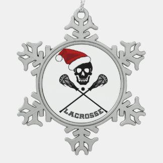 Christmas Lacrosse Sticks Snowflake Pewter Christmas Ornament
