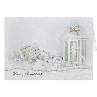 Christmas lantern and music in sparkling snow card