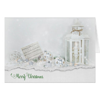 Christmas lantern and ornaments in snow card
