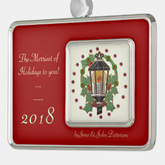 Christmas Lantern Stain Glass Art PERSONALIZED Silver Plated Framed Ornament