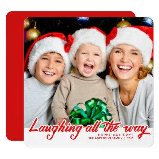 Christmas Laughing Hand Script Full-Bleed Photo 13 Cm X 13 Cm Square Invitation Card