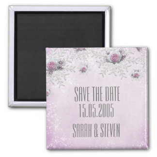 Christmas Lavender Roses Snowflakes Save the date Magnet
