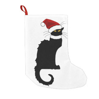 Christmas Le Chat Noir With Santa Hat Small Christmas Stocking