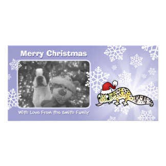 Christmas Leopard Gecko Personalised Photo Card