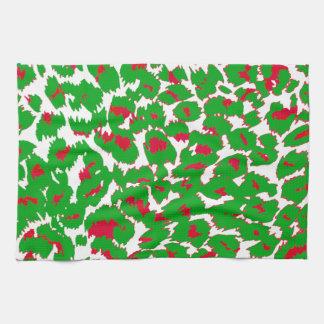 Christmas Leopard Spots Pattern Kitchen Towel