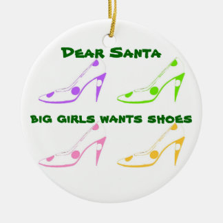 Christmas Letter to Santa for Shoe Lovers Round Ceramic Decoration