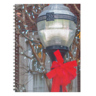 Christmas light post spiral notebook