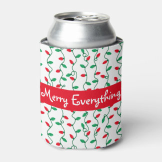 Christmas Light Stripes Holiday Greeting Can Cooler