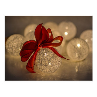 Christmas lighted ornament bauble ribbon postcard