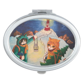 Christmas Lighthouse at Night Cats Compact Mirrors
