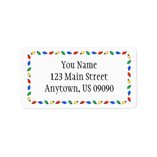 Christmas Lights Border Address Labels (White)