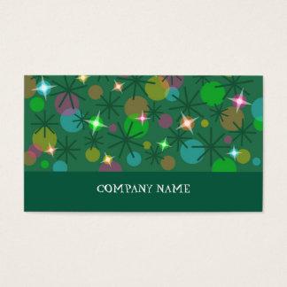 Christmas Lights business card green stripe