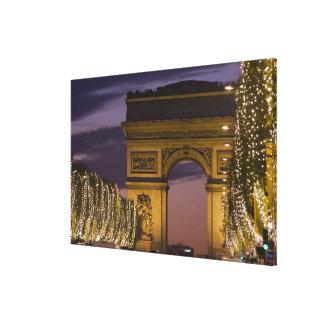 Christmas lights, Champs Elysees, Arc de Gallery Wrap Canvas
